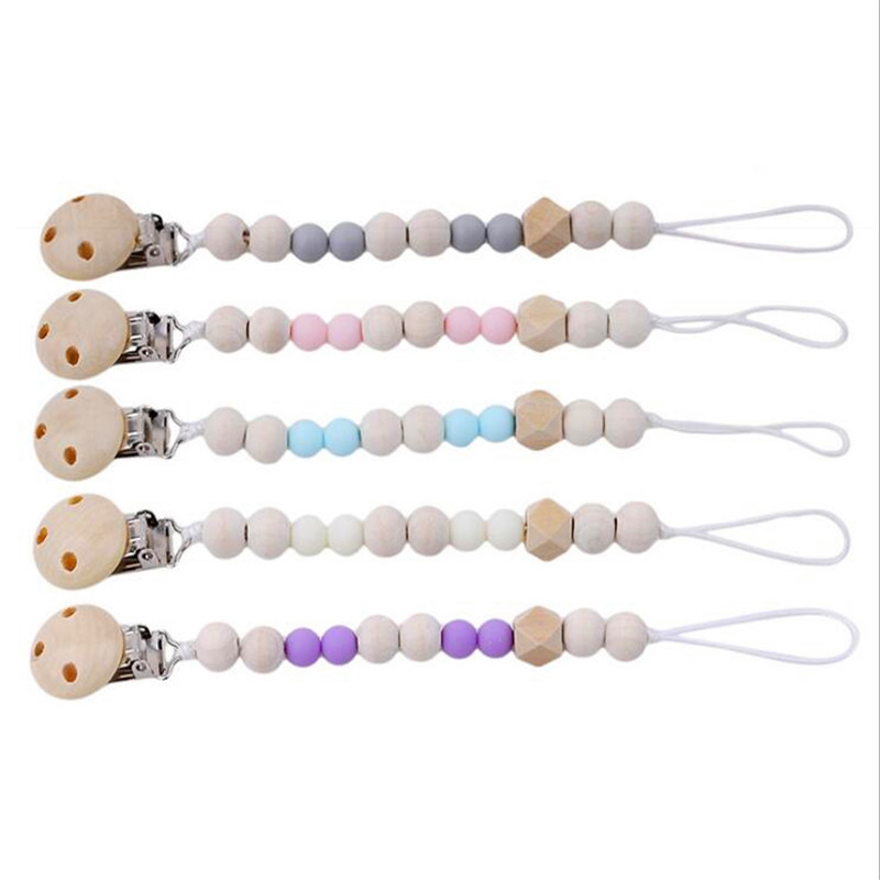 Handmade Wooden Pacifier Chains Toy Safe Teething Chain Baby Teether Eco-friendly Pacifier Clips Holder Chain