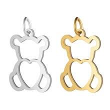 5 pçs/lote 100% aço inoxidável oco urso charme atacado diy jóias encontrando suprimentos diy jóias fazendo charme
