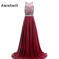Real Photo Robe De Soiree Sparkle Crystal Rhinestone Beads Chiffon Sleeveless Elegant Long Evening Dresses Party