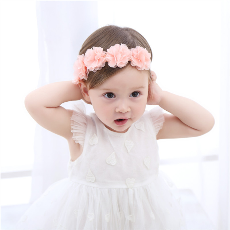 1pcs New Sweet Kids'Five-color Flower Hair Belt, Hair Band, Pure-color Baby Hair Ornament Baby Photo Projects Free Shipping