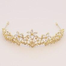 Marquise Zircon Flower Crown Tiara Sparkly Gold Color Coronet Headband AAA Cubic Zirconia Hair Jewelry for Wedding Headband Gift