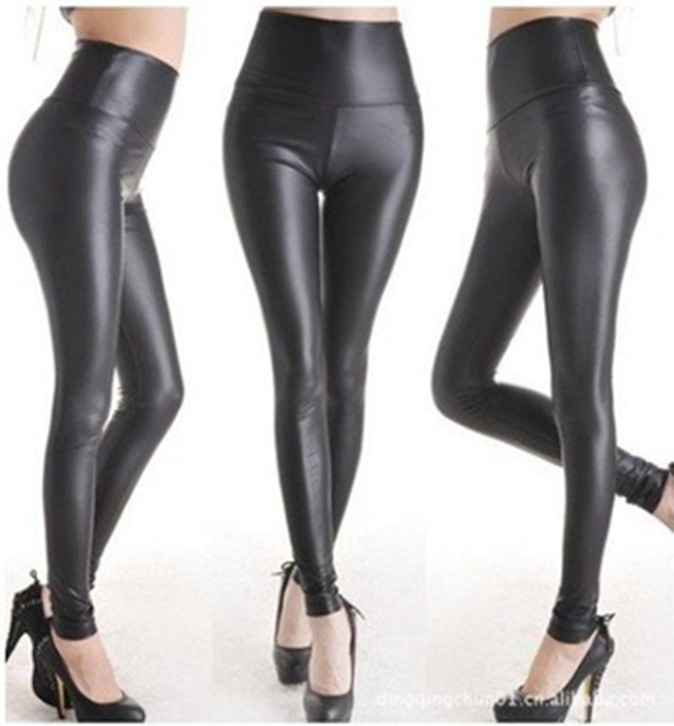 EAST KNITTING New High Waist Sexy Soild Black PU Leather   Leggings   Women   Leggings   skinny leggins
