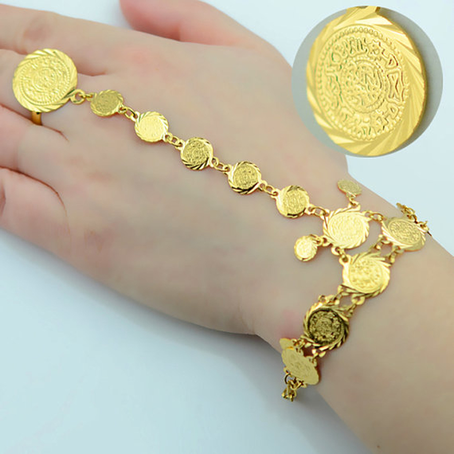 Wholesale Gold Coin Bracelet for Women Arab Chain Middle Eastern Gift Ancient Coins Jewelry Africa Indian