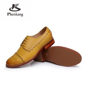 Image 5 - Zapatos planos de piel de oveja genuina brogue yinzo para mujer zapatos oxford hechos a mano vintage invierno rojo amarillo, naranja 2020