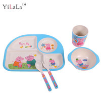 Yilala 5 Pieces/Set Plastic Rice Dish Dinnerware Hand-painted Cartoon Peppa Pig Bowl Cup Fork Spoon Plate Tableware Set for Kids