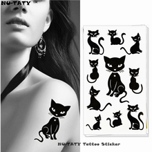 Nu-TATY Sexy Black Cats Temporary Tattoo Body Art Arm Flash Tattoo Stickers 17x10cm Waterproof Fake Henna Painless Tatto Sticker