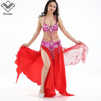 Wechery Sexy Belly Dancing Performance Skirts & Beading Belt & 34C Bras Tops Open Split Long Skirt Set for Performance Stage