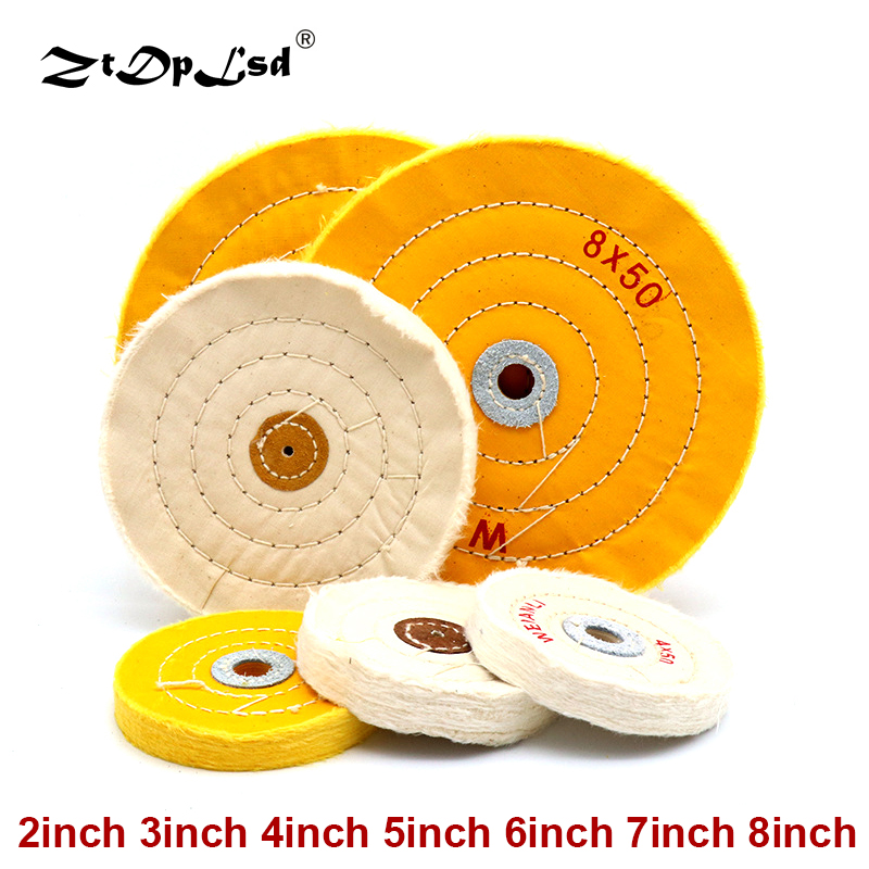 1Pcs Cotton Polishing Cloth Buffing Wheels Grinder For Gold Silver Jewelry Metal Wood Abrasive Tools White Round Shape Pad
