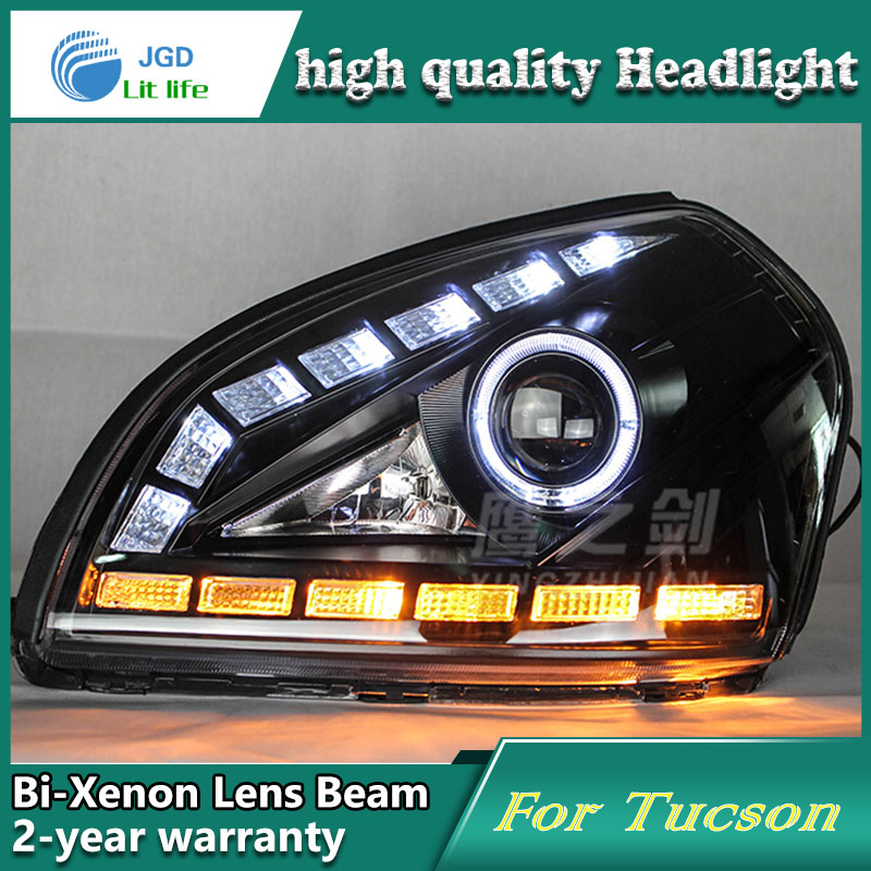 Car Styling Head Lamp case for Hyundai Tucson 2005-2009 Headlights LED Headlight DRL Lens Double Beam Bi-Xenon HID Accessories hireno headlamp for 2004 10 hyundai elantra headlight headlight assembly led drl angel lens double beam hid xenon 2pcs