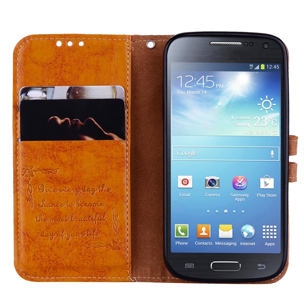 big sale 8f051 d965f for Samsung S4 Case Flip Leather Cover for Samsung S4 mini Case TPU Cover  Wallet Phone Case for S4mini