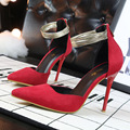 wind thin fine Sexy high Heels shallow mouth pointed toe ring band Suede Sandals hollow gold women pumps