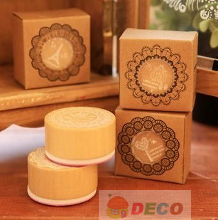 1PC/lot Lace round stamp Creative stamp into paper box Wooden stamp Decorative DIY school zakka(ss-6383) ...