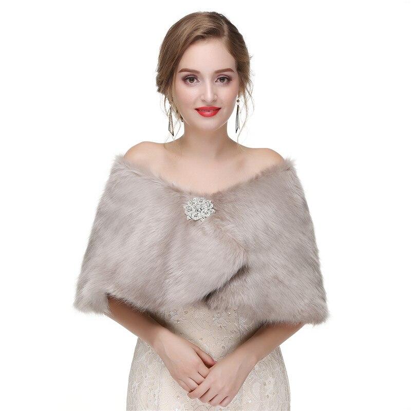H&S BRIDAL Women Bolero Faux Fur Bridal Wraps For Wedding Jacket Evening Capes Prom Jacket Coat Winter Fur Shawl Wedding Boleros