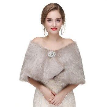 71a16cfcd856c H & S GELIN Kadın Bolero Faux Kürk Gelin Sarar Düğün Ceket akşam burunları  Için Balo Ceket Ceket Kış Kürk şal Düğün Boleros