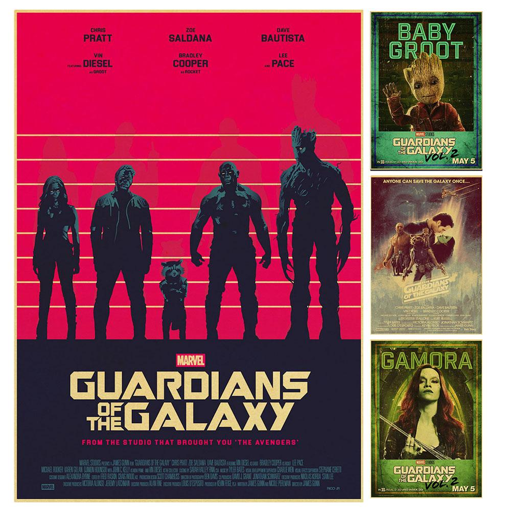 Marvel Movie Guardians Of The Galaxy Star-Lord Rocket Raccoon Groot  Retro Poster Vintage Poster Wall Decor For Home Bar Cafe