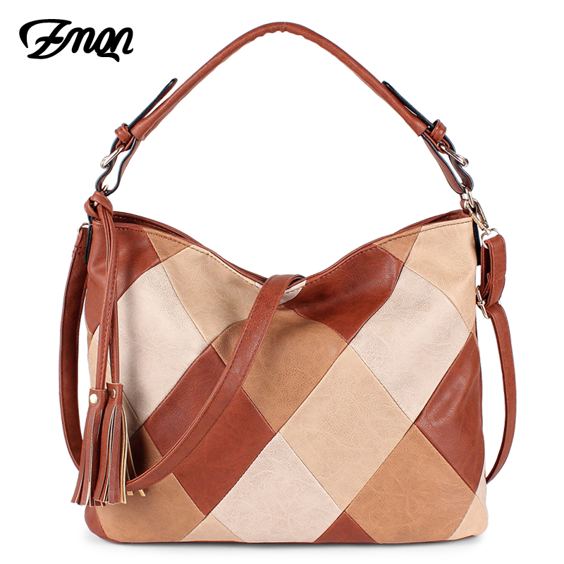 ZMQN Luxury Handbags Women Bags Designer Casual Tote Shoulder Bag For Women 2019 Patchwork Ladies Hand Bags PU Leather Big C861