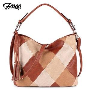 Image 1 - ZMQN Luxury Handbags Women Bags Designer Casual Tote Shoulder Bag For Women 2020 Patchwork Ladies Hand Bags PU Leather Big C861