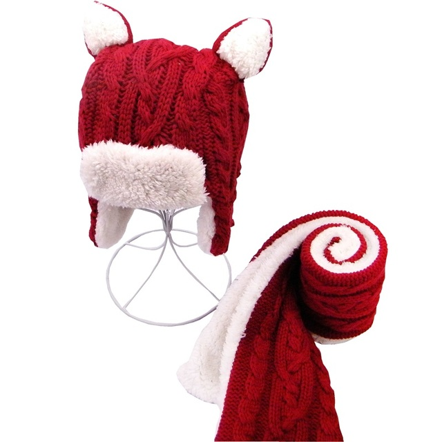 812ebbb975a 2017 New Langzhen Brand 2pcs set Girls Boys Hats Scarf Set Cute red Children  Kids Baby Winter Caps Bonnet Enfant Baby Muts KF276