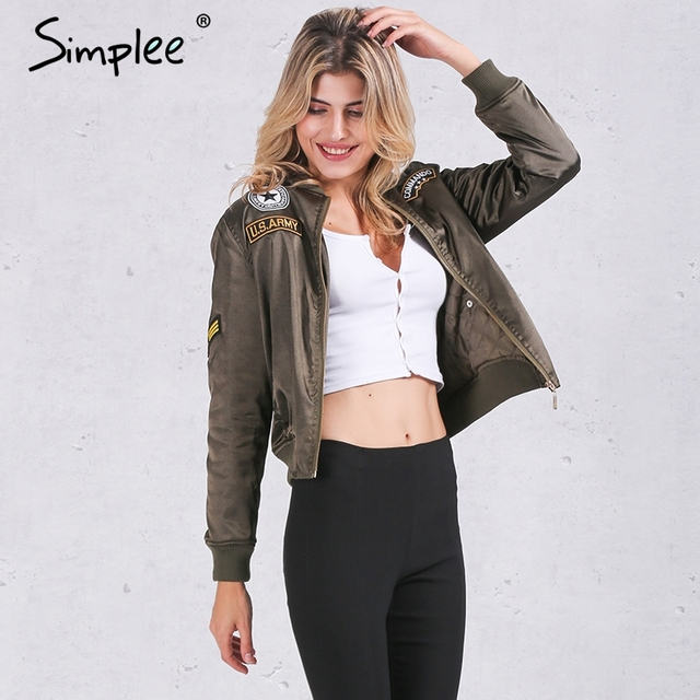Simplee Winter cotton label pilot jacket coat Casual short top basic parka Women autumn cool padded biker bomber jacket veste