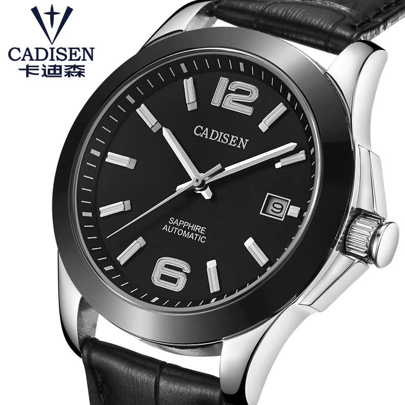 Mens Watches CADISEN Classic AUTO Date Automatic Mechanical Watch Analog Skeleton Black Leather Man Black ceramic Wristwatch