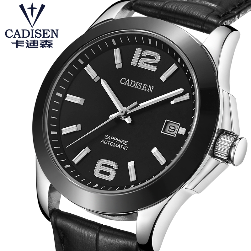 Mens Watches CADISEN Classic AUTO Date Automatic Mechanical Watch Analog Skeleton Black Leather Man Black ceramic Wristwatch