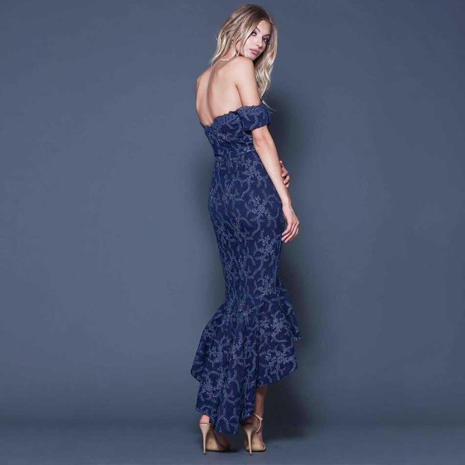 Vestito Da Sexy Sirena Della Di 2018 Partito Dress Del In Guest Abito Paillettes Sposa Lusso Off Spalla Blu Navy Nuovo Lungo Pizzo Xq6I4wI