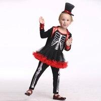2017 Hot Skeleton Cosplay Costume Children Pirate Halloween Costume Kids Girl Performance Dance Christmas Cartoon Costume