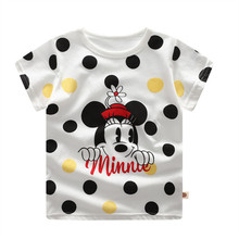 2019 Mickey Summer Girls & Boys Short Sleeve T Shirts Cartoon Print T-shirt Striped Tee Shirt Cotton Boys Tops For Kids Clothing cotton boys t shirt excavator summer 2019 cartoon frog printed short sleeve t shirt for kids boys tee shirt dinosaur tops