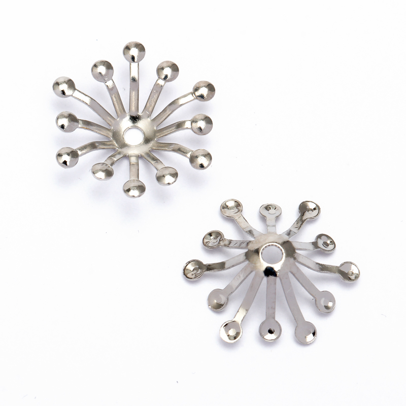 100pcs 13mm Copper Vintage Filigree Spacer Flowers Motif Charms Loose Bead End Caps Handmade for DIY jewelry Findings Components