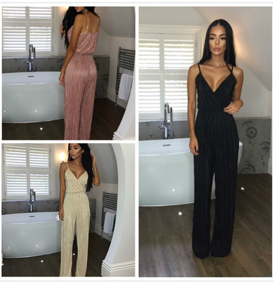 Dusty Pink Satin Slip Jumpsuit Sexy Cross Low Back Women Summer Jumpsuits 2017 New Ruffl ...