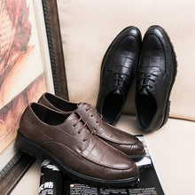 SHARCPCLAW Leather Men Dress Shoes Business Oxfords Shoes Men PU Solid Lace-Up Round Toe Shoes Men Sapatos Masculino Social(China)