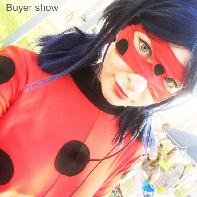 US $13 72 35% OFF|Coshome Miraculous Ladybug Wigs Peluca Marinette Girls  Women Cosplay Double Ponytail Braids Short Straight Wig Blue Hair on