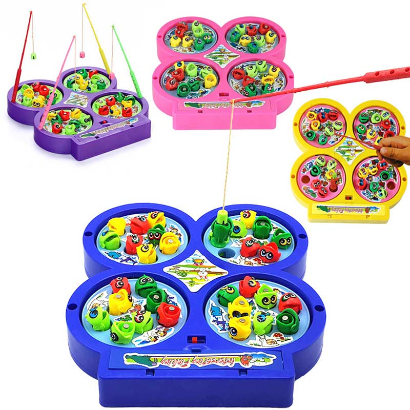 Fishing Dish Electric Rotation Singing Toy Brain Exercise Hand-eye Coordination Cultivate Gifts for Kids Boys Girls -17 BM88