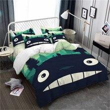 Cute Totoro Bedding Set Green Natural Scenery Duvet Cover Kids Cartoon Pillowcase Home Decor