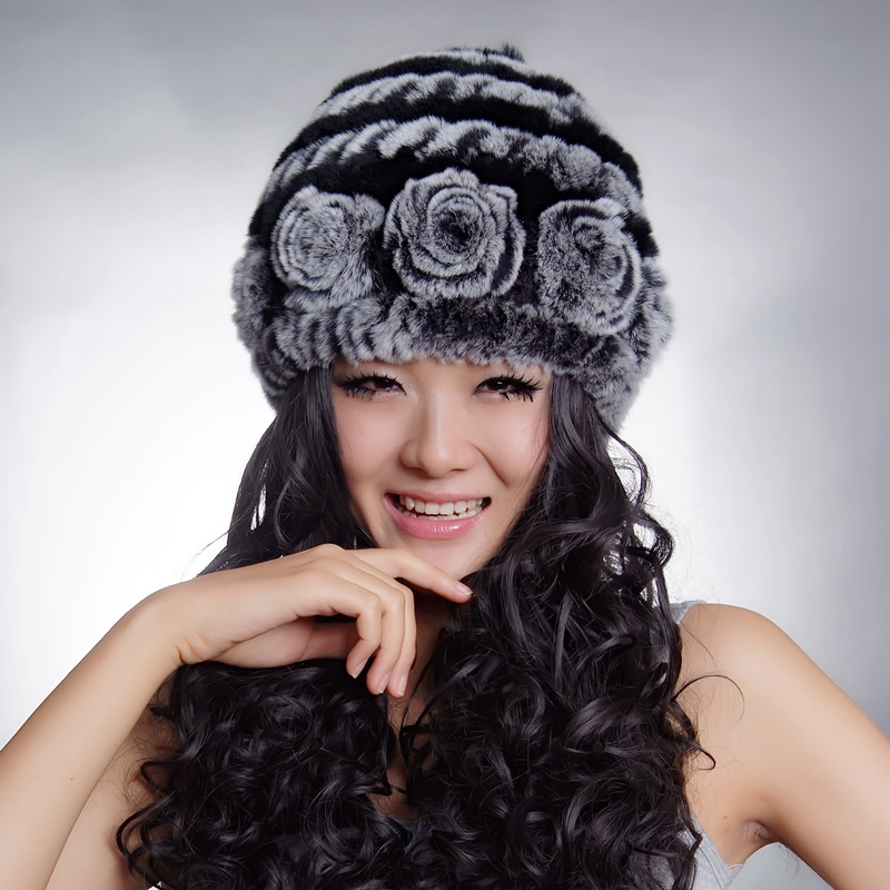 (TopFurMall) Women's Natural Knitted Rex Rabbit Fur Bucket Hats Female Genuine Handmade Flower Winter Caps Lady Headgear VK0918
