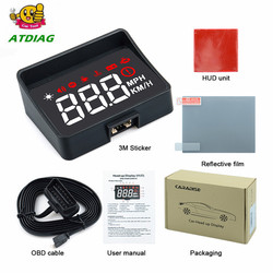 HUD  A100S With Lens Hood Windshield Projector OBD2 II EUOBD Car Head Up Display Overspeed Warning System Voltage Alarm