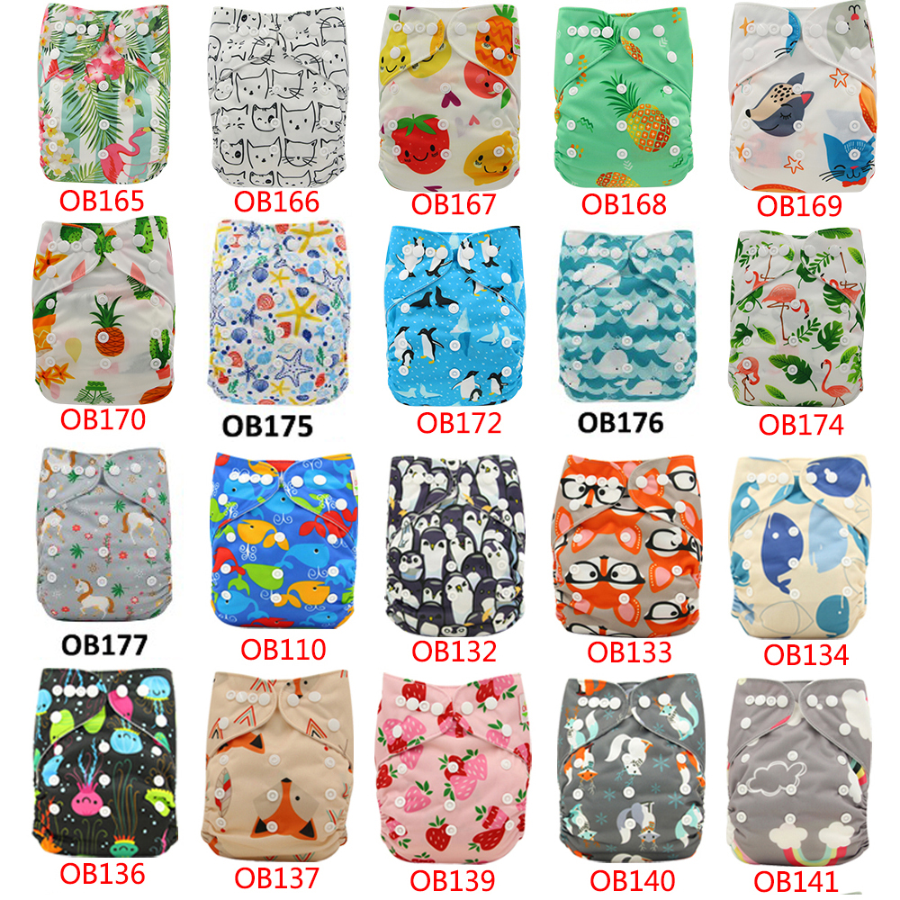 10pcs Lot Baby Cloth Diapers Nappy Changing Character Print Waterproof Nappies Adjustable Baby Shower Pocket Diaper