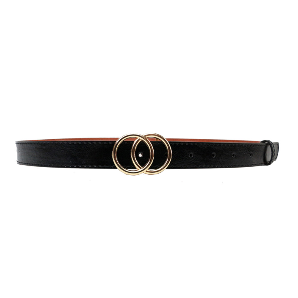 Soft Faux Leather Double Ring Belt Buckle for women 12
