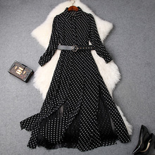 Polka Dot Dress Woman 2019 Spring New Turn Down Collar Lantern Sleeves Lace Patchwork Slim Waist Belted Split Long Dress Elegant women shirt dress 100% cotton spring summer 2019 new fashion stripes turn down collar long sleeved slim waist split casual dress