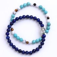 2pcs Set Antique Silver Plated Buddha Head Charm Onyx Turquoise Natural Stone Beads Bracelet Set Pack