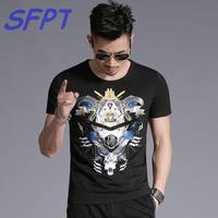 2017 Summer Mens Casual T Shirts O Neck Black 3D Hot Drilling Robot Print Brand Man