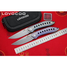 LOVOCOO FLYING SHARK Flipper folding knife s35vn blade Titanium Handle Outdoor Camping EDC tools Hunting Hiking pocket knives