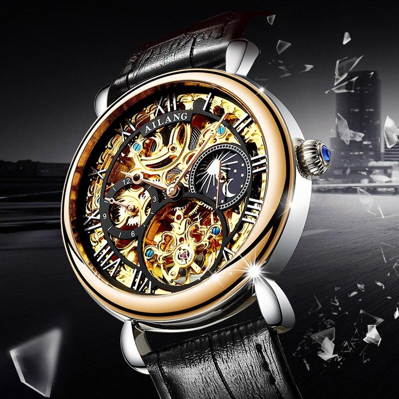 Ailang 원래 디자인 성인 남성 손목 시계 남자, 기계 기어 s3 경계, 기어 운동 자동 기계식 시계 2018-에서기계식 시계부터 시계 의  그룹 1