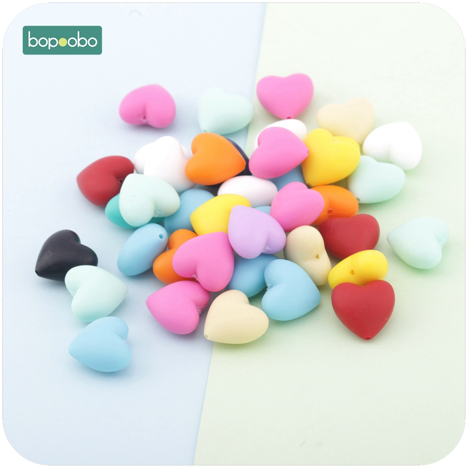 Bopoobo Heart Silicone Bead For Teether 10pc Teething Jewelry DIY Bracelet Teething Nursing Necklace Silicone Beads Baby Teether
