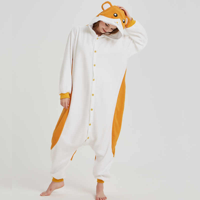 d0b8170be2a ... Soft Hamtaro Kigurumi Polar Fleece Mouse Cosplay Costume Animal  Sleepwear Pajamas Adult Onesie Halloween Carnival Party ...