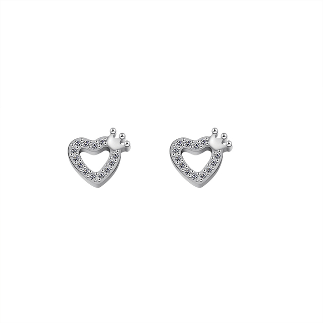 Tiny Small Love Heart Princess Crown Stud Earrings For Women With Clear Cubic Zirconia Korean Style
