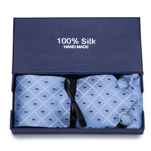 Discount Mens Tie Blue Plaid Silk Jacquard Neck tie Tie Hanky Cufflinks Set Ties For Men Business Wedding Party Free Shipping men s ties pink plaid paisley silk jacquard tie hanky cufflinks set men s business gift ties for men drop shipping