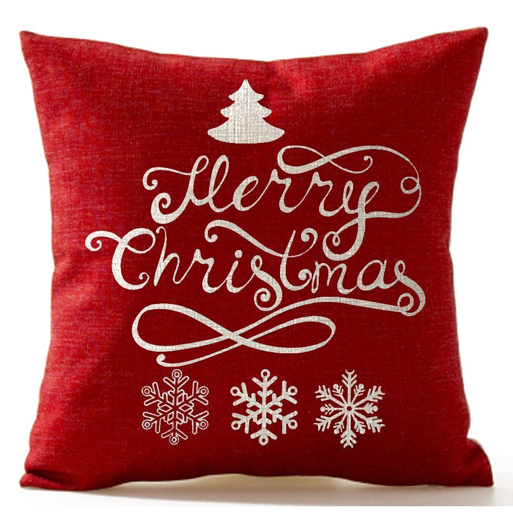 Christmas Pine Tree Snowflake Merry Christmas In Red flax Throw Pillow Case Cover Home Office Living Room Decorative S