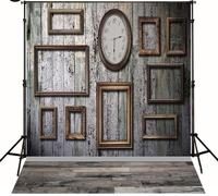 Gluing Frame Clock Old Vintage Wood Floor Photo Studio Background Vinyl Cloth Computer Printed Party Backdrops