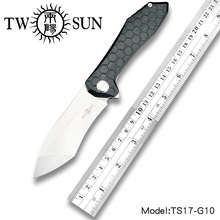TWOSUN D2 blade folding knife Pocket Knife tactical knife hunting knife Outdoor camping tool EDC Ball Bearings G10 Ripper TS17 цены
